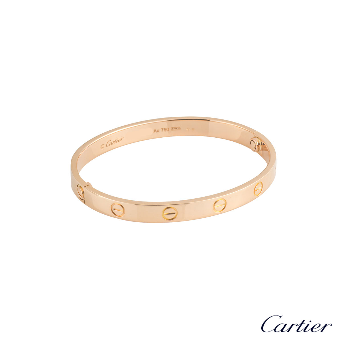 Cartier Rose Gold Plain Love Bracelet Size 19 B6035619